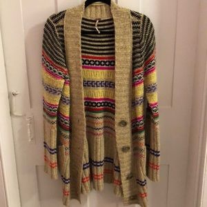 FREE PEOPLE long multicolor cardigan